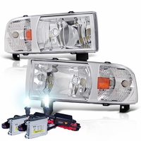 HID Xenon + 94-01 Dodge Ram Truck 1-Piece Crystal Headlights - Chrome
