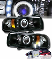 HID Xenon + 94-01 Dodge Ram Truck Angel Eye Halo & LED Projector Headlights - Black