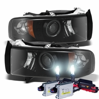 HID Xenon + 94-01 Dodge Ram Truck Angel Eye Halo & LED Projector Headlights - Black Smoked