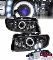 HID Xenon + 94-01 Dodge Ram Truck Angel Eye Halo & LED Projector Headlights - Smoked