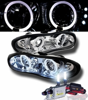 HID Xenon + 98-02 Chevy Camaro Angel Eye Halo LED Projector Headlights - Chrome