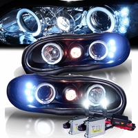 HID Xenon + 98-02 Chevy Camaro Angel Eye Halo Projector Headlights - Black