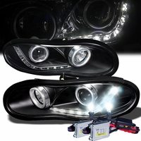 HID Xenon + 98-02 Chevy Camaro R8 Style LED DRL Projector Headlights - Black
