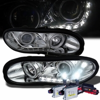 HID Xenon + 98-02 Chevy Camaro R8 Style LED Strip Projector Headlights - Chrome