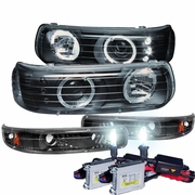 HID Xenon + 99-00 Chevy Silverado / 00-06 Suburban Tahoe Angel Eye Halo LED Projector Headlights + Bumper Lens - Black