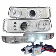 HID Xenon + 99-00 Chevy Silverado / 00-06 Suburban Tahoe Angel Eye Halo LED Projector Headlights + Bumper Lens - Chrome