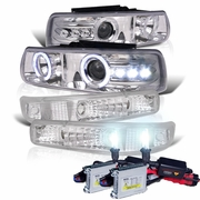HID Xenon + 99-02 Chevy Silverado / 00-06 Suburban Tahoe Angel Eye Halo LED Projector Headlights + Bumper Lens - Chrome