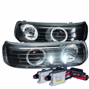 HID Xenon + 99-02 Chevy Silverado / Suburban / Tahoe Angel Eye Halo LED Projector Headlights - Black