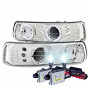 HID Xenon + 99-02 Chevy Silverado / Suburban / Tahoe Angel Eye Halo LED Projector Headlights - Chrome