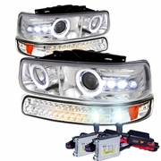 HID Xenon + 99-02 Chevy Silverado / Suburban / Tahoe Halo Projector Headlights + LED Bumper Lights - Chrome