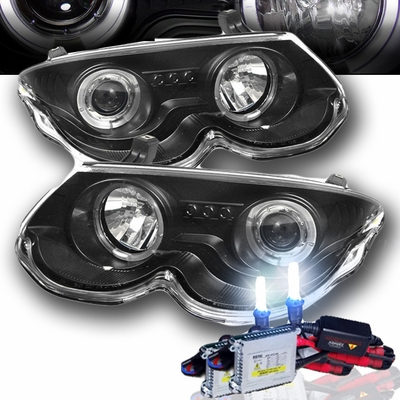 HID Xenon + 99-04 Chrysler 300M Angel Eye Halo & LED Projector Headlights - Black