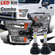 LED Kit + 2015-16 Ford F150 Pickup Crystal Replace Headlights - Chrome
