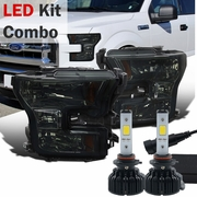 LED Kit + 2015-16 Ford F150 Pickup Crystal Replace Headlights - Smoked