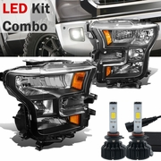 LED Kit + 2015-17 Ford F150 Pickup Crystal Replace Headlights - Black