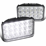 "Pair 4"" x 6"" Sealed Beam 45W Cree 15-LED H4 Headlights Lamps 6000K Light Bulbs"