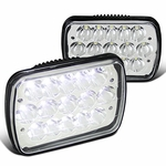 "Pair 7""x6"" Sealed Beam 45W Cree 15-LED H4 Headlights Lamps 6000K Light Bulbs"