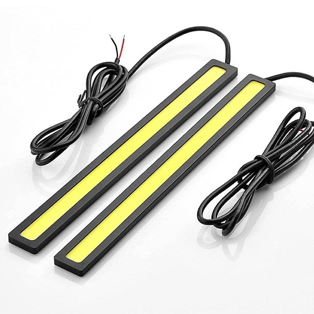 Pair Super Bright White Cob Led Drl Strip Driving Lamp