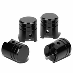 Piston Style Polished Aluinum Black Tire Vavle Stem Caps (Pack of 4)