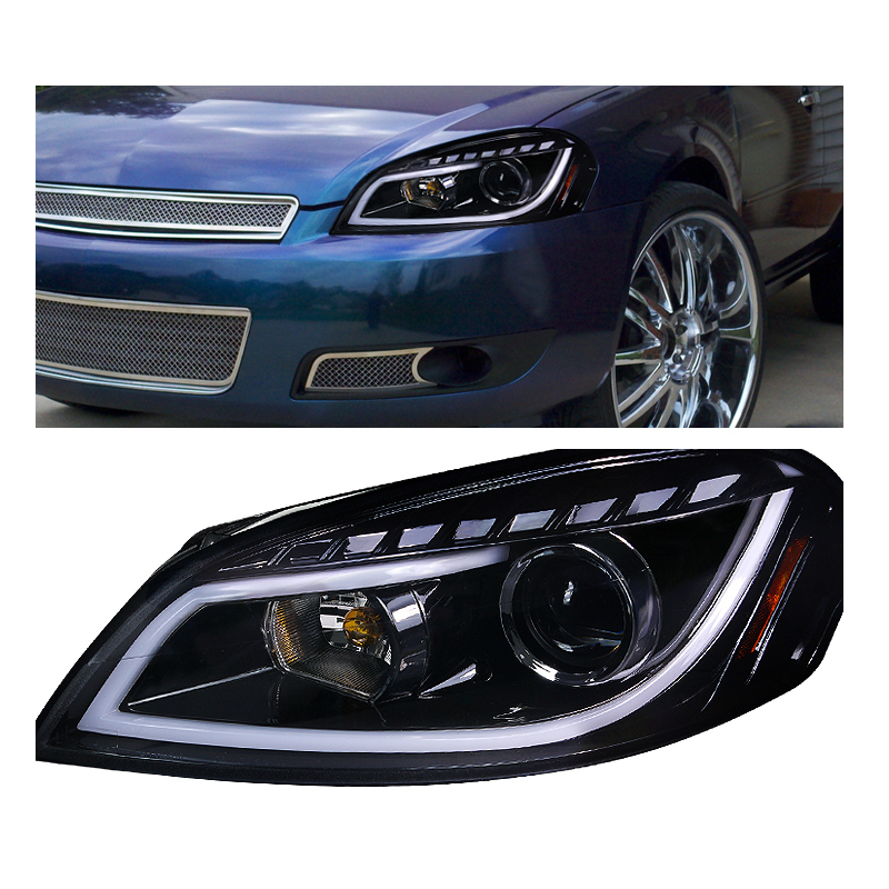 projector headlights spec d tuning images video2007 and up spec d 06 13 chevy impala led drl strip projector headlights chrome
