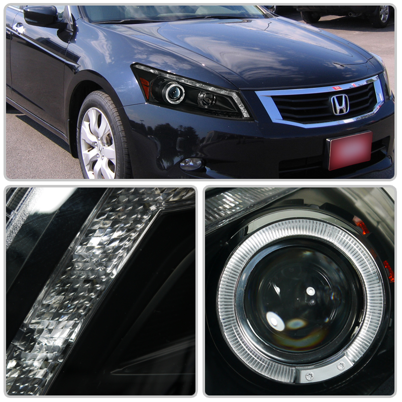 2008 Honda Accord Headlights ... Honda Accord 4-Door Sedan DRL LED Halo Projector Headlights - Gloss