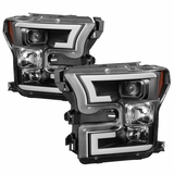 Spyder 2015-16 Ford F150 LED DRL Tube Projector Headlights - Black