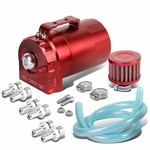 Universal Aluminum Dual Chamber Filter Reservoir Breather Baffled Oil Catch Tank Red