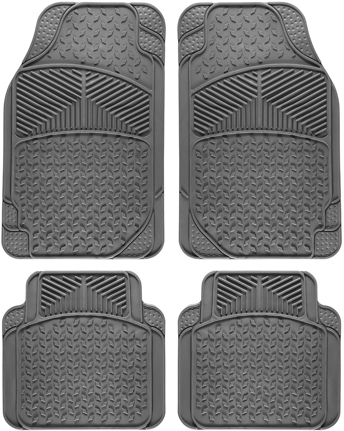 Rubber floor mats nissan rogue - Universal Fit 4 Piece Full Set Eagle Heavy Duty Rubber Floor Mat Gray