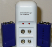 Nine Volt NiCD Dual Battery Charger - TWO 9V Rechargeable Batteries