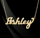 14K Gold Classic Script Nameplate Necklace
