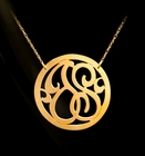 Rimmed Circle 2 Initial Monogram Necklace