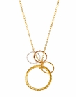 Circle Pendant with Stackable Circle Rings Mixed Metal Necklace