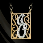 Diamond Initial in Lace Script Geo