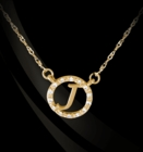Diamond Border Initial 14K Gold Necklace