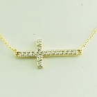 Diamond Cross Sideways Necklace