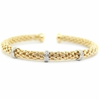 Diamonds and 14K Gold Mesh Cuff Bracelet