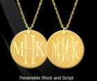 Engraved Double Sided Monogram Disc Necklace