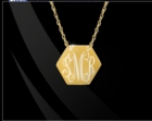 Engraved Hexagon Pendant Necklace 14K Gold