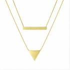 Engraved Layered Bar and Triangle Necklace