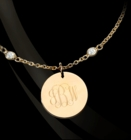 Engraved Monogram Charm on CZ Bracelet by Jane Basch