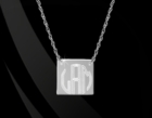 Engraved Square Pendant Necklace 14K Gold