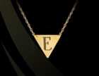Engraved Triangular Pendant Necklace 14K Gold