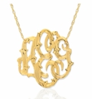 Fancy Hand Engraved Script Cut Out Monogram Necklace