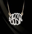 Jane Basch Freeform Diamond Monogram Necklace