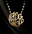 Jane Basch Gemstone Chain Initial or Monogram Necklace