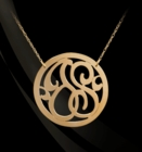 Solid Gold Circle Rimmed Lace 2 Initial Necklace