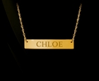 Bar Nameplate Solid Gold Necklace
