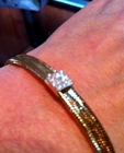 14K Woven Diamond Bangle Bracelet