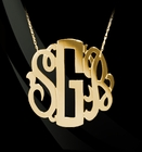 Solid Gold Neo Classic Monogram Necklace