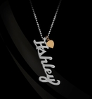Vertical Script Nameplate Necklace