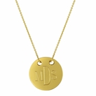 Engraved Round Disc Gold Necklace